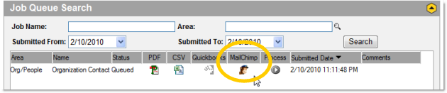 Click the MailChimp icon in Membee to synchronize your list